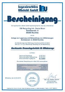 Unfallauto Altauto entsorgen - Zertifikat - Sachsen, Rochlitz, Geithain, Lunzenau, Penig, Mittweida, Wechselburg